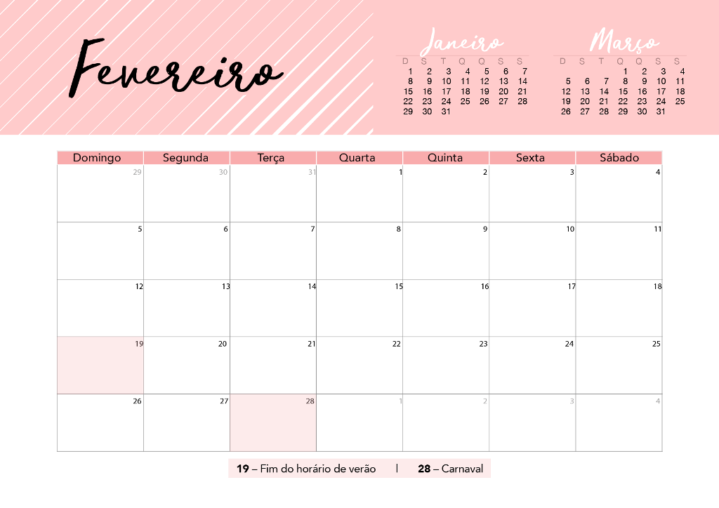 Calendario De Fevereiro Pra Voce Imprimir Charme Design Do Lar