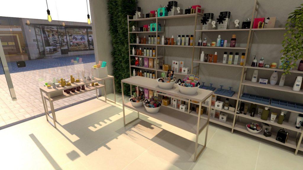 Loja produtos de beleza em estilo industrial